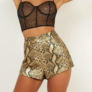 Showpo Candy Paint Shorts Gold Snake Leatherette